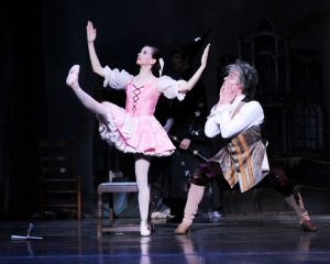 Alexandra Kochis as Swanhilda and Stephen Hadala as Dr. Coppelius in Coppelia, 2012. Photo by Rich Sofranko.
